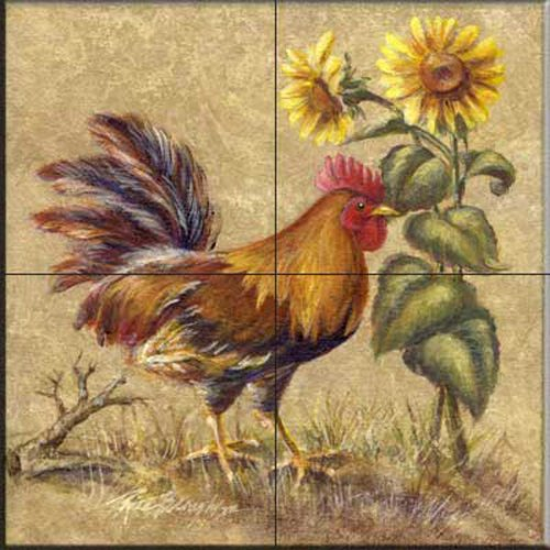 Rooster in the Sunflowers by Rita Broughton - Kitchen Backsplash / Bathroom wall Tile Mural