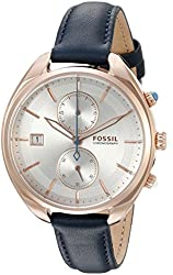 Fossil Women's CH2997 Land Racer Chronograph Leather Watch - Blue