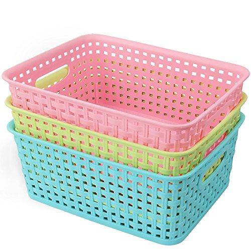 Nicesh Plastic Colored Storage Baskets Set Of 3 Home Garden Decor