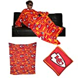 NFL Kansas City Chiefs Large Throw Blanket With Sleeves that folds into a Couch Pillow - Red & Yellow at Amazon.com