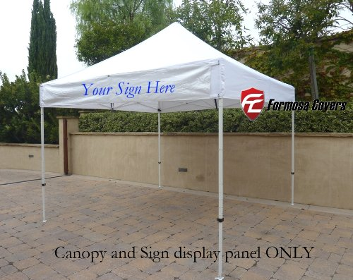 10ftx10ft Replacement Canopy with one detachable Sign display panel in White (Top Only)