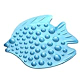 Youchan(ヨウチャン) バス 滑り止め マット 魚型 フィッシュ お風呂 浴室 転倒防止 マッサージ 浴槽 お年寄り 子供 安心 安全 床面 吸盤 固定 コンパクト 収納 シート 介護用品 高齢者 入浴 補助 転倒 セーフティ スリップ防止 小物 浴室用品 55×45cm (ブルー)