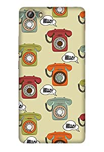 PrintHaat Designer Back Case Cover for Gionee Marathon M5 lite (landline phone texture :: hello :: love talking on phone :: miss landline phone :: in orange, green, red and yellow)