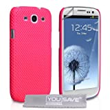 Samsung Galaxy S3 Tasche Hei Rosa Masche Harte Hlle Mit Displayschutz Und Poliertuchvon &#34;Yousave Accessories&#34;
