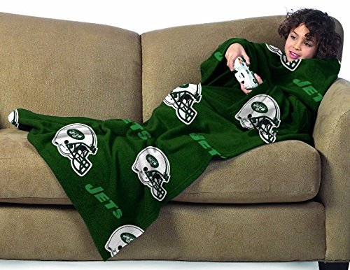 New York Jets Youth Comfy Throw Blanket with Sleeves