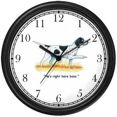 English Pointer Dog Cartoon or Comic - JP Animal Wall Clock by WatchBuddy Timepieces Black Frame