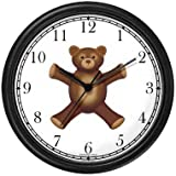 Teddy Bear (Sad Face) - Bear - JP Animal Wall Clock by WatchBuddy Timepieces (Hunter Green Frame)