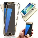 Vandot Galaxy J1 Shockproof Case,Ultra Slim Fit Soft TPU Silicone Anti-Scratch Drop Protection Front and Back Full Body 360 Degree Coverage Protective Case Cover For Samsung Galaxy J1 J100 (2015 Version)-Transparent Gold