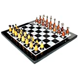 "15"" X 15"" Collectible Black Marble Chess Board Game Set + Brass Wooden Pieces"