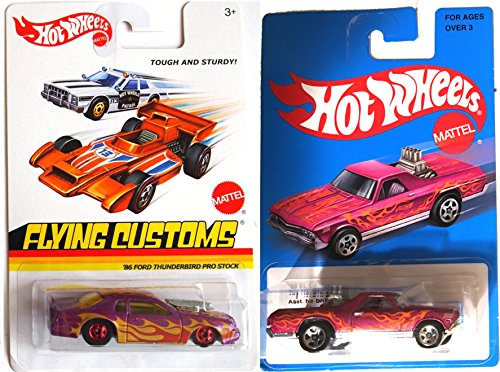 Hot Wheels Flames Ford Thunderbird & '68 El Camino Heritage Blue Card 2016 On Fire Car Set - pipes Flying Customs Pro Stock Purple Racers in PROTECTIVE CASES (Diecast Chevy Truck 1989 compare prices)