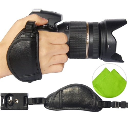 First2Savvv Osh0701 Professional Wrist Grip Black Genuine Leather Hand Strap For Canon Powershot Sx40 Hs Eos 60Da Eos 5D Mark Iii Eos 650D Eos 400D With Lens Cleaning Cloth