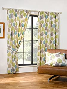 Autumn Leaf Green 46x54 Cotton Blend Lined Pencil Pleat Curtains #doowelgni