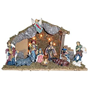 Kurt Adler Wooden Stable with 11 Resin Figures Lighted Nativity Set