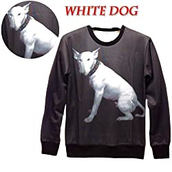 SASC178 animal White dog print pullover 3D Sweatshirts Hoodies Galaxy sweaters tops