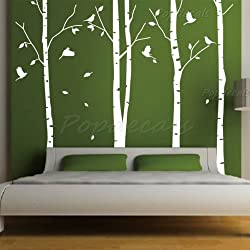 Set of 4 Big Birch Trees in White- 8.5 ft nursery wall decals tree vinyl wall art wall decor sticker wall vinyl stickers pop baby gift by PopDecals