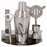 Premium Stainless Steel Bar Set by Bar Brat / 7 Piece Drink Martini Shaker Set / Bonus Jigger & 110 Cocktail Recipes (ebook) Included