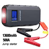 BOPOWER 500A Peak 13600mAh Portable Car Jump Starter Battery Booster and Phone Power Bank with Smart Charging Port, Compass, LCD Screen and LED Light, up to 4.2L Gas and 3.0L Diesel Engine - Black/Red