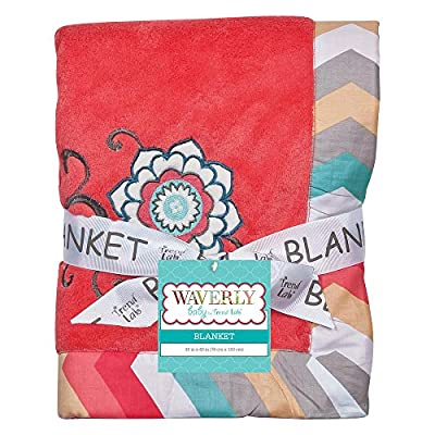 Coral and Teal Fleece Baby Blanket by Trend Lab