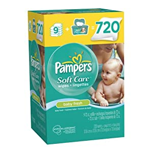 Pampers SoftCare Baby Fresh Wipes 10X Wipes 720 Count