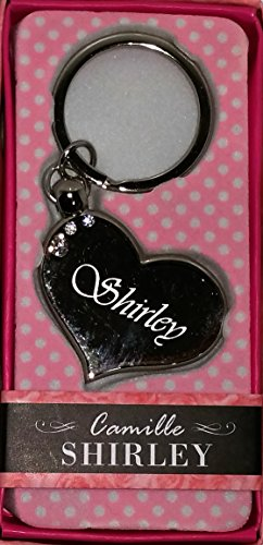 """SHIRLEY Namens Herz Silber Metall Schlüsselanhänger mit Gravur und Swarovski-Kristall, in Geschenkverpackung, benannt. SHIRLEY Effectz """"von Sterling"""