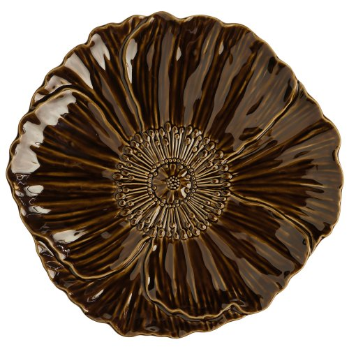 Grasslands Road 6-Pack Chocolate Ceramic Spring Meadow Blooming Daisy Plate, 8-Inch