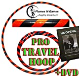 Adult Weighted Hula Hoop (Black/UV Orange) Large Travel Hula Hoops For Dance, Fitness & Exercise + Hooping DVD!