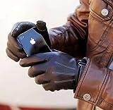 [TARO WORKS]iPhone スマートフォン 液晶タッチパネル対応「羊皮」手袋 ブラック