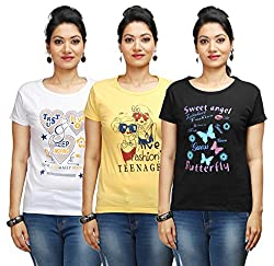 Flexicute Women's Printed Round Neck T-Shirt Combo Pack (Pack of 3)- Yellow, White & Black Color. Sizes : S-32, M-34, L-36, XL-38