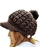 Coxeer® Coffee Girl's Winter Warm Short Visor Knitting Wool Peaked Hat Cap