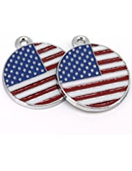 LQZ(TM) 9Pcs Round USA American Flag Enamel Charms Pendants For Jewelry Making And Crafting