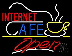 Amazon.com: Red Internet Cafe Logo White Line Open Neon ...