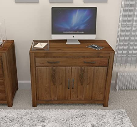 Grand solid walnut furniture hidden home office desk computer table study
