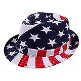 HDE Kid's Short Brim Trilby Fedora Hat (US Flag)
