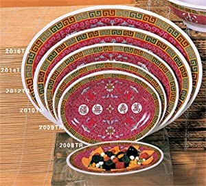Thunder Group Peacock Collection 12-Pack Platter, 8 by 6-Inch, Melamine, Red