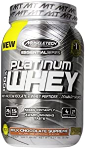 MuscleTech Platinum 100% Whey Supplement, Milk Chocolate Supreme, 2 Pound