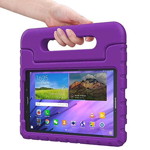 Samsung Galaxy Tab E 8.0 kids case, COOPER DYNAMO Rugged Heavy Duty Children's Boys Girls Toy Bumper Drop Proof Protective Carry Case Cover + Handle, Stand & Screen Protector for SM-T375 T377 Purple (Old Book Case For Samsung Tablet compare prices)