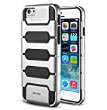 "JOTO iPhone 6 4.7 Case - Premium Armor Hybrid Bumper Cover Case (Dual Layer: Flexible TPU + Hard PC) Exclusive for Apple iPhone 6 4.7"", with premium metal effect coating (Silver PC + Grey TPU)"