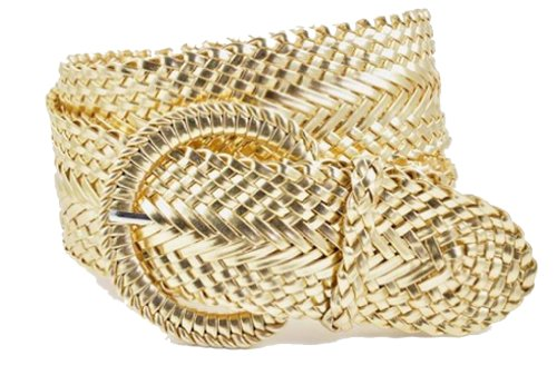 "Ladies Fashion Web Braid Faux Leather Woven Metallic Wide Belt 22 Colors (M (38""), Gold)"