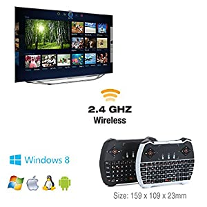 Wishpower 2.4GHz Backlit Mini Wireless Keyboard Touchpad Mouse Multimedia Keys Android TV Box, Windows PC, HTPC, IPTV, Raspberry Pi More (No Light)