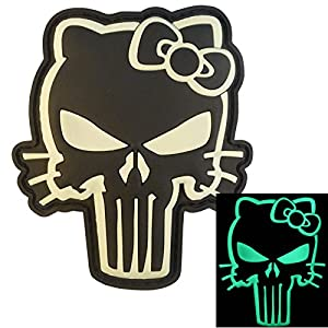 GITD Hello Kitty 3D PVC Gomme Velcro Écusson Patch Punisher Morale Combat Airsoft Paintball