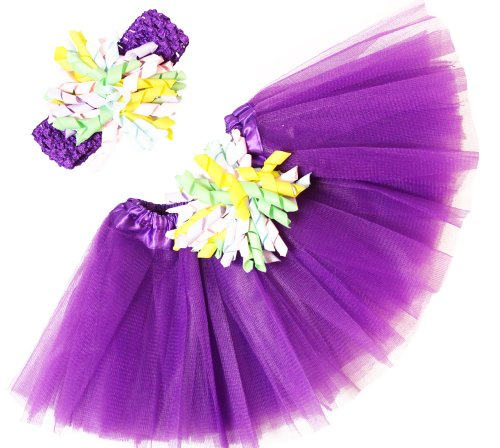 Purple & Pastels Baby Tutu & Korker Bow Headband Combo (0-24 Months) front-108332