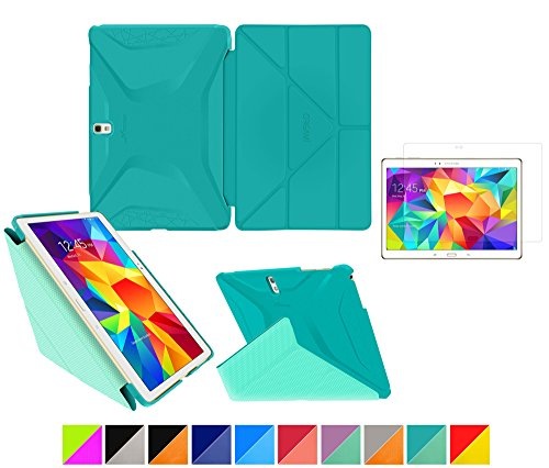 "Galaxy Tab S 10.5"" Case, Roocase Origami 3D Slim Shell Case [Turquoise Blue/Mint Candy] Smart Cover Bundle With Hd Clear Screen Guard For Samsung Galaxy Tab S 10.5 (Supports Sleep/Wake Feature) front-541174"