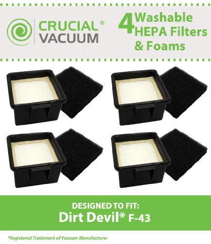 4 Dirt Devil F43 HEPA Filters and Foam Filters, Part # 2PY1105000 (2-PY1105-000) & 1PY1106000, Designed & Engineered by Crucial Vacuum (Dirt Devil Ud20005 Filter compare prices)