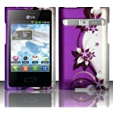 [Extra-Terrestrial]For LG Optimus Logic L35g / Dynamic L38c (StraightTalk/Net 10) Rubberized Design Cover -Purple/Silver Vines