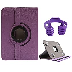 DMG Portable Foldable Stand Holder Cover Case for Lenovo A3500-HV/A7-50 (Purple) + Tablet Holder Hand Stand