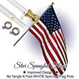 Flag Pole - 6 Foot White Aluminum No Tangle Spinning Flag Pole Built Tough and Beautiful to Fly Grommeted or Sleeve Flags Proudly in Residential House or Commercial Settings