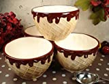D'Lusso Designs Home Decorative Four Piece Waffle Cone Design Ceramic Ice Cream Bowls Set