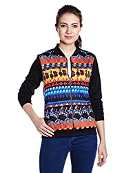 Global Desi Women's Blouson Jacket (24498-KJK-R-1_Black_Large)