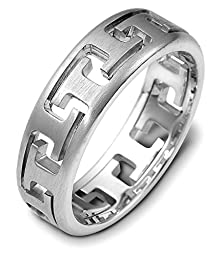buy Mens 10K White Gold, Puzzle Ring 6.5Mm Wedding Band (Sz 7.5)