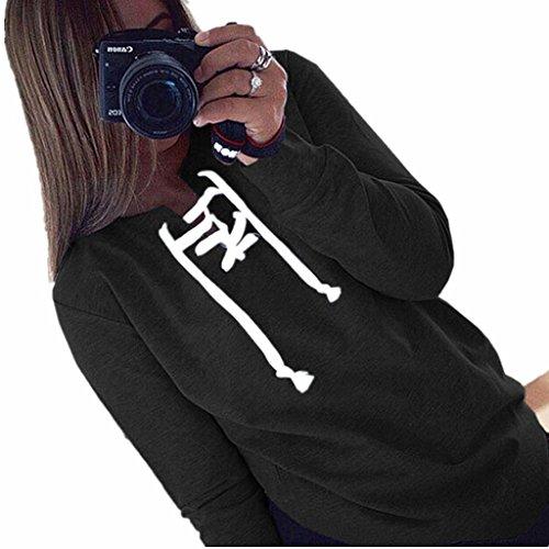 ZYQYJGF Casual Sciolto T-Shirt V Profondo Collo Manica Lunga In Tops Felpe Club Notte Partito Tinta Unita Donna . Black . L
